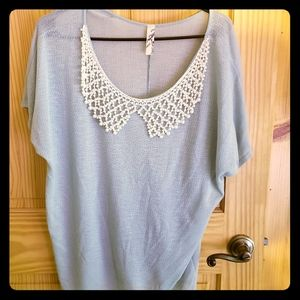 Promesa Beaded Pearl Blue Cute Top